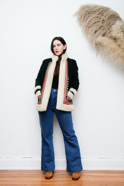 60's 70's Afghan Sheepskin Hippie Coat Rare