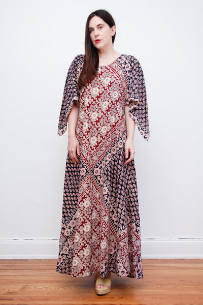 1970's Indian Cotton Block Fabric Kaftan Maxi