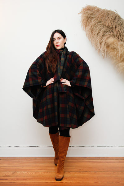 70's Tartan Wool Dramatic Cape