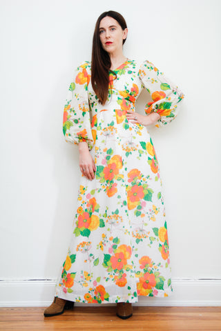 1970's Floral Prairie Cotton Dress
