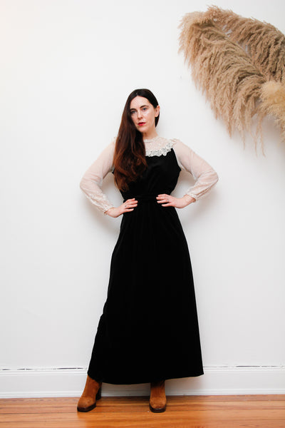 Quad Vintage Velvet Prairie Maxi Dress