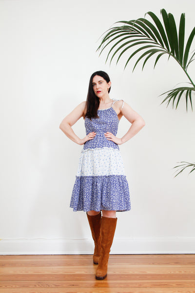 1970's Cotton Prairie Halter Dress