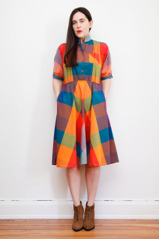 1970's Cotton Plaid Dress