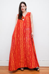1970's Dramatic Batik Cotton Maxi Dress