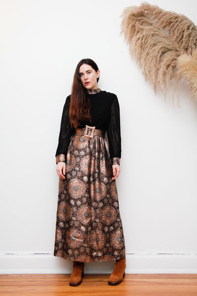 1960's Black Gold Brocade Belted Maxi Dress