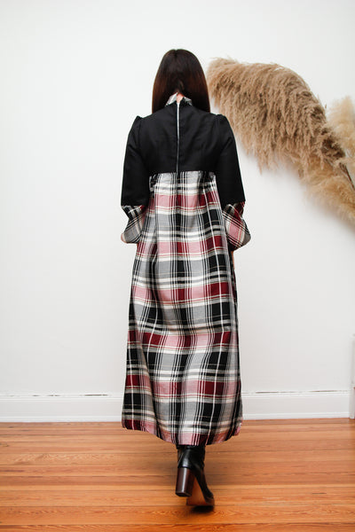 Vintage Plaid Pussy Bow Smock Dress