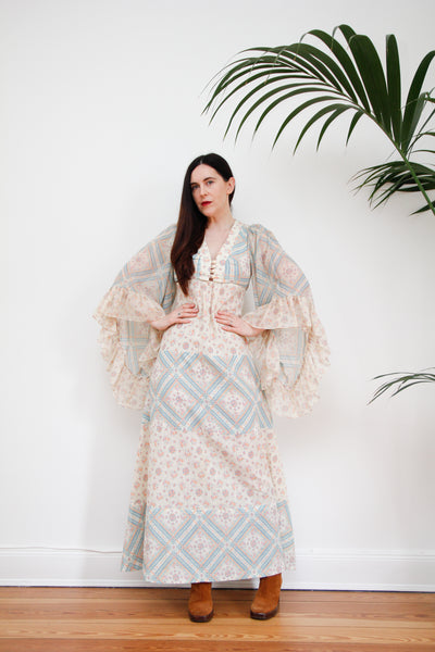 1970's Floral Gauze Cotton Kaftan Waterfall Sleeve Dress