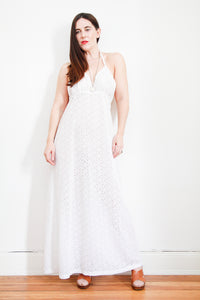 1970's Lace Halter Maxi Dress
