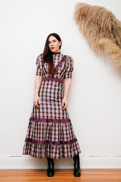 Vintage Prairie Plaid Maxi Dress