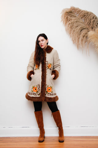 70's Afghan Hand Embroidered Sheepskin Coat