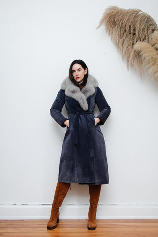 70's Silver Fox fur Suede Trench Coat