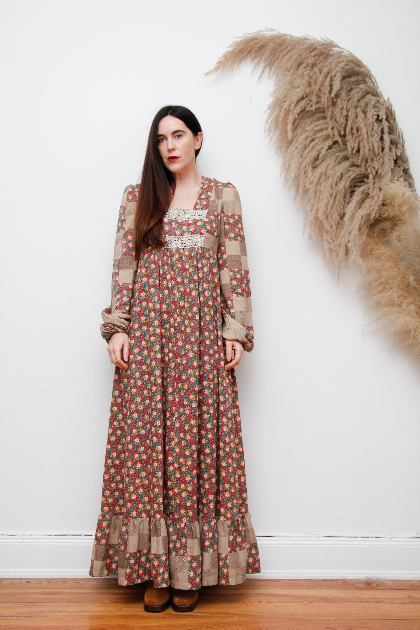 70's Floral Patchwork Cotton Maxi Dress