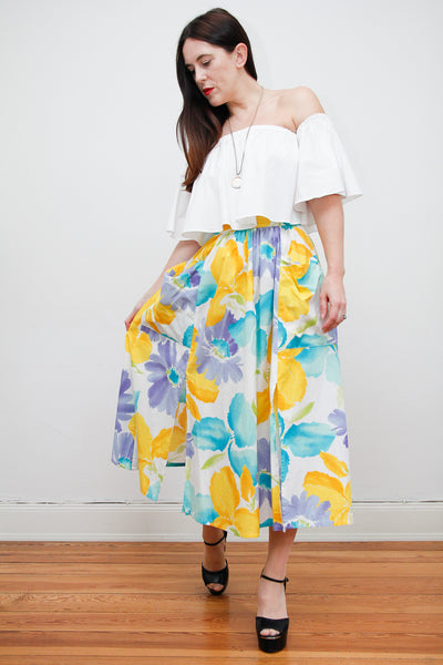 1980's Cotton Floral Skirt