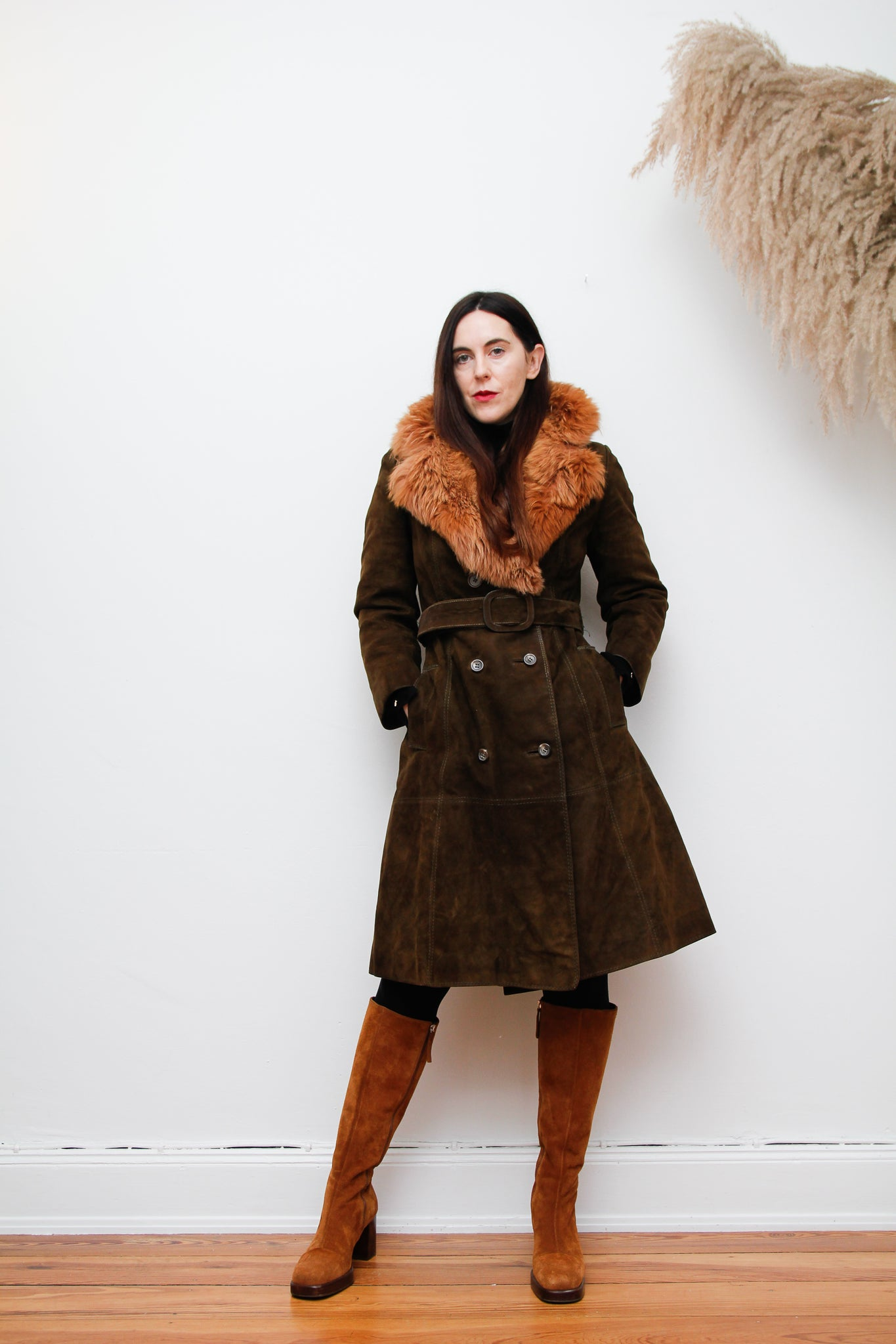 70's Fox Fur Suede Trench Coat