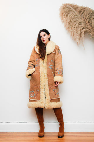 70's Afghan Hand Embroidered Sheepskin Maxi Coat