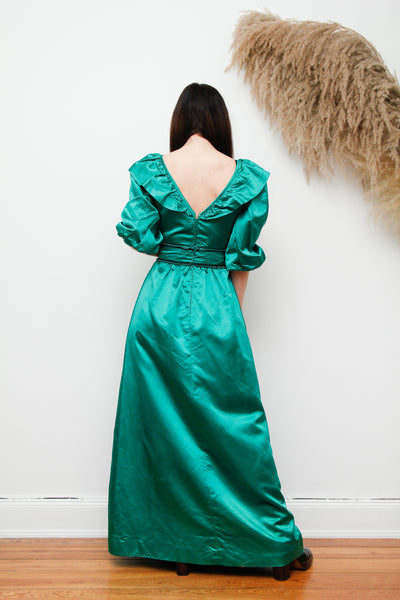 Vintage Satin Silk Frill Maxi Dress
