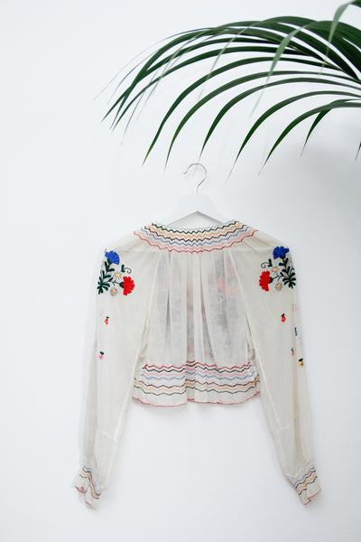 1930's Hungarian Floral Folklore Embroidered Top Rare