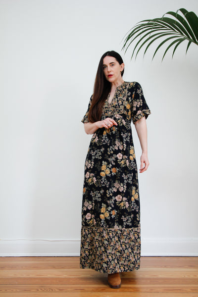 1970's Floral Cotton Prairie Maxi Dress