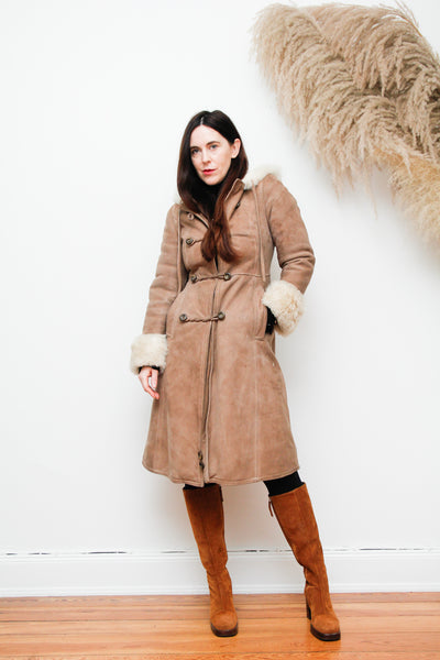70's Vintage Afghan Real Sheepskin Hooded Coat