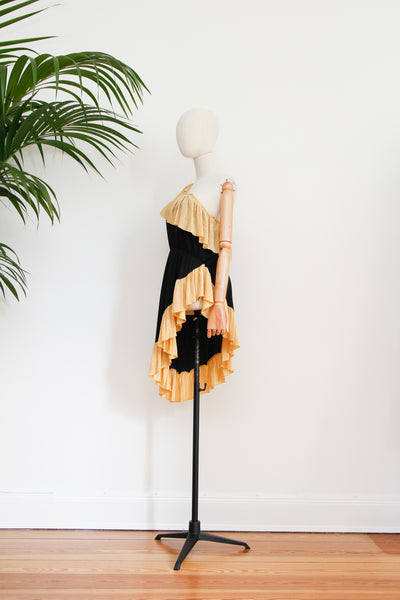 1970's Indian Cotton Batik Tie Dye Maxi Skirt