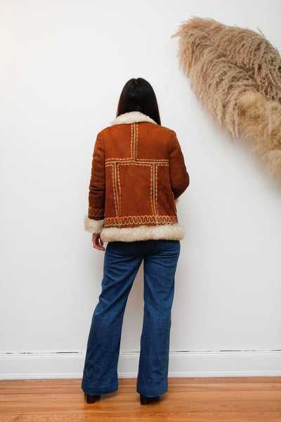 70's Afghan Mongolian Sheepskin Embroidered Coat