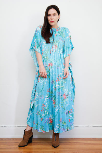 1970's Pleated Floral Kaftan