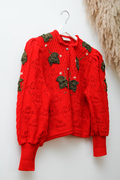 Vintage Austrian Folklore Forest Mutton Sleeve Knitted Cardigan