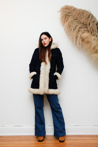 1970's Navy Afghan Sheepskin Penny Lane Coat