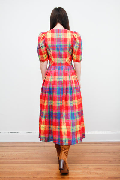 1980's Cotton Paid Prairie Dress