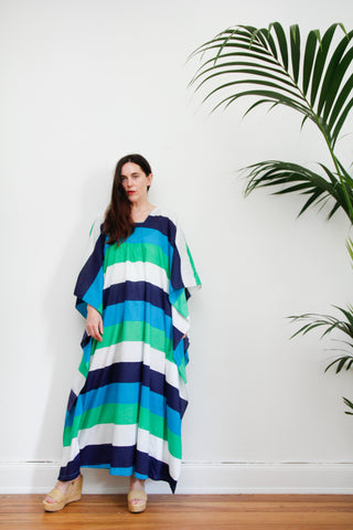 1970's Stripe Cotton Maxi Kaftan