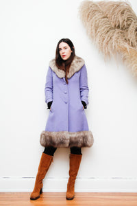 Vintage Real Fur Wool Coat Penny Lane Princess Folk Winter