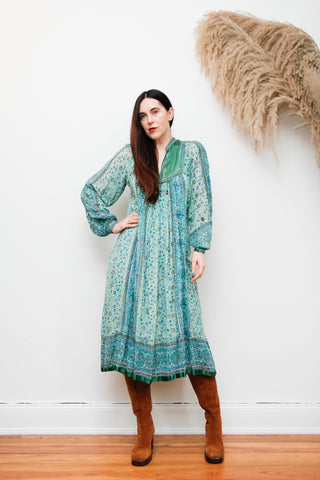 Rare 1970's Indian Cotton Gauze Maxi Dress