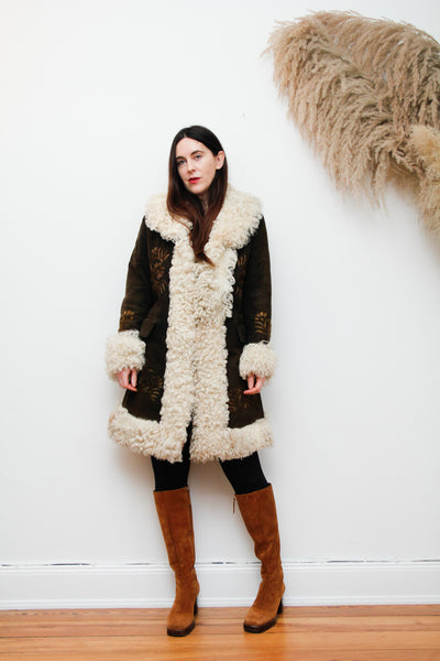 70's Afghan Hand Embroidered Mongolian Sheepskin Maxi Coat