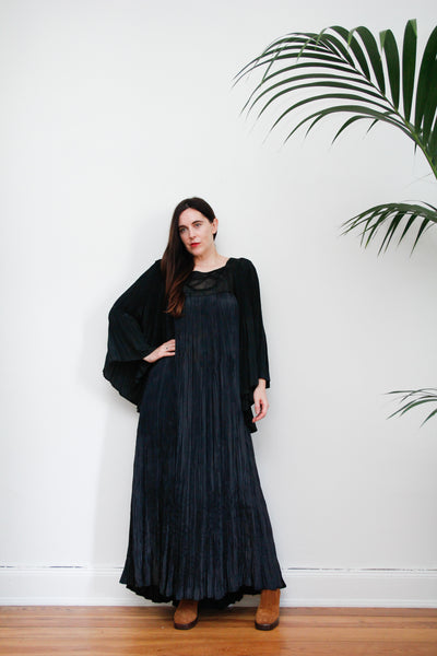 70's Rare Indian Silky Black Pleated Maxi Dress