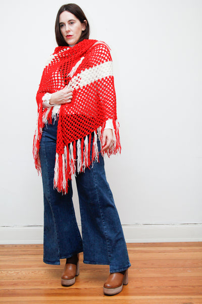 1970's Crochet Knitted Shawl Cape