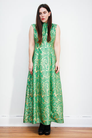 1960's Green Gold Brocade Maxi Dress