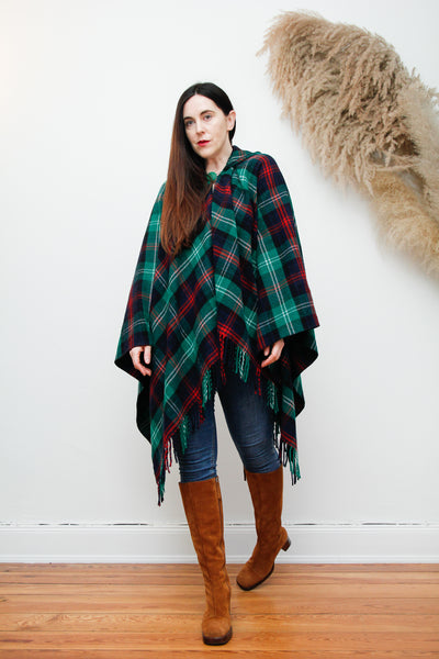 70's Tartan Wool Fringe Dramatic Cape