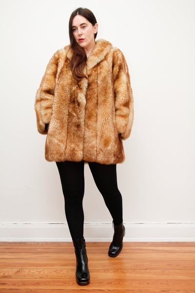 1970's Golden Brown Shearling Sheepskin Coat