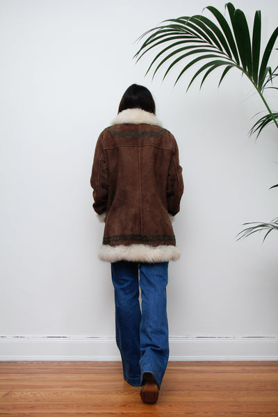 70's Embroidered Sheepskin Coat