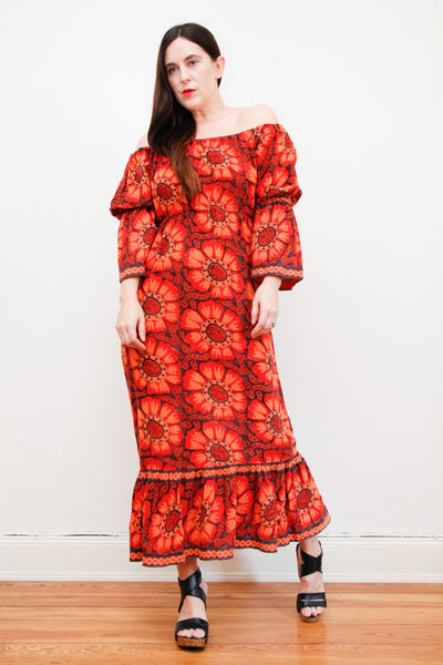 1970's Indian Cotton Off The Shoulder Dress