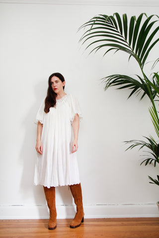 1970's White Kaftan Cotton Smock Dress