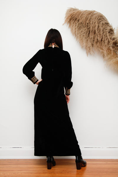70's Jean Varon Velvet Maxi Dress