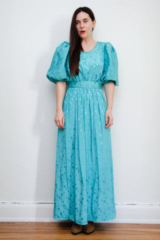 1980's Puffy Sleeve Maxi Dress
