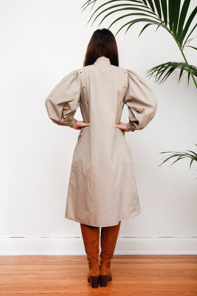 80's Safari Cotton Huge Poet Sleeve Dress