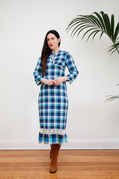 1970's Blue Paid Tartan Maxi Dress