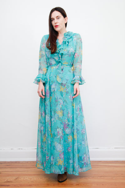 1970's Floral Frilly Maxi Dress