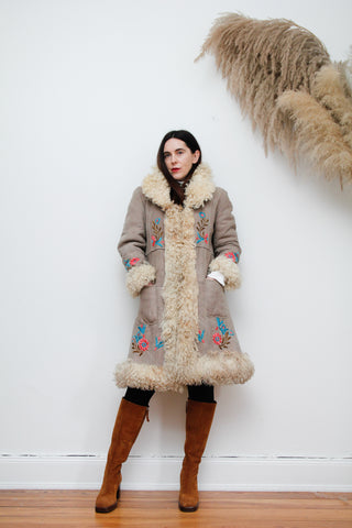 70's Afghan Mongolian Sheepskin Embroidered Maxi Coat