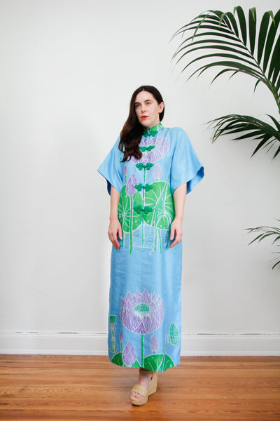 1970's Floral Silk Kaftan Dress