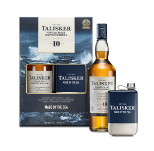 Talisker 10 Year Old Single Malt Scotch Whisky & Hip Flask - Drop Club