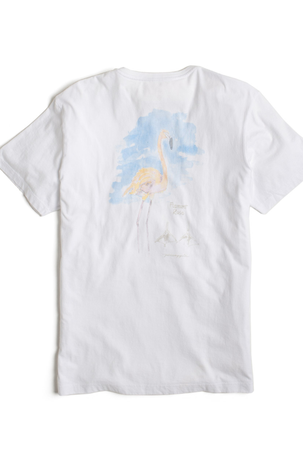 T-Shirt Com Etiqueta no Bolso e Silk Flamingo